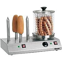 Bartscher BA.A120.408 Appareil à Hot-Dogs avec 4 Plots Chauffés pour Petit Pain Acier Inoxydable 50 x 28,5 x 39 cm