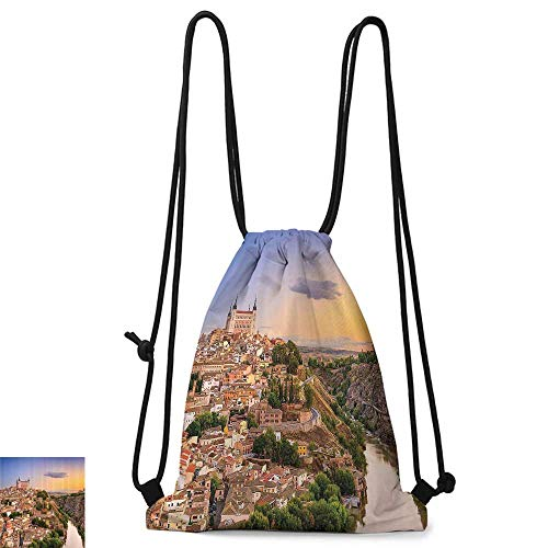 Custom backpack Wanderlust Decor Collection Toledo Spain Old City over the Tagus River Downtown Castle Architectural Ancient Picture W14