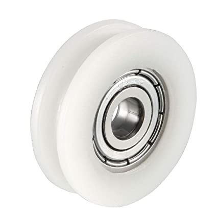 sourcing map 3.4mm Deep Metal V Groove Guide Bearing Pulley Rail Ball Wheel 8x40x10mm