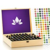Essential Oil Wooden Box Organizer - Large Wood Storage Case Holds 68 Oils. Protects 15ml Drams & 10ml Roller Bottles - Best for Travel and Presentations. Removable Padding And EO Labels