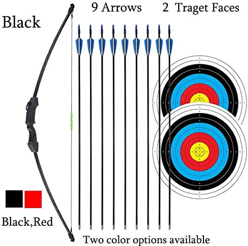 iMay 45″ Recurve Bow and Arrows Set Outdoor Archery Beginner Gift Longbow Kit with 9 Arrows 2 Target Face 18 Lb for Teen