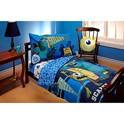 TL 4 Piece Kids Blue Monsters Toddler Bed Set, Yellow Teal Dinsey Monster  Bedding Scully
