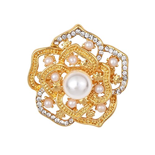 Orcbee  Vintage Style Crystals Imitation Pearl Large Bow Brooch for Wedding Party (Gold)