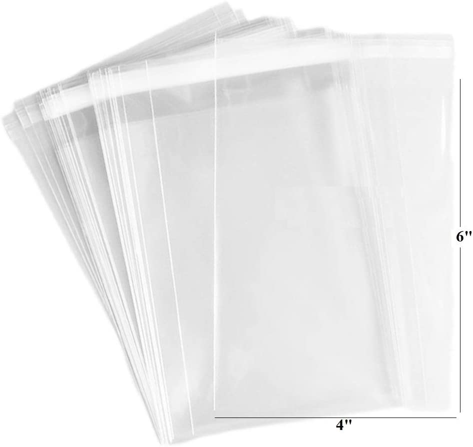 200ct Adhesive Treat Bags 4x6 Clear - 1.4 mils Thick Self Sealing OPP Plastic Bags for Bakery Cookies Christmas Party Decorative Gift Bags (4
