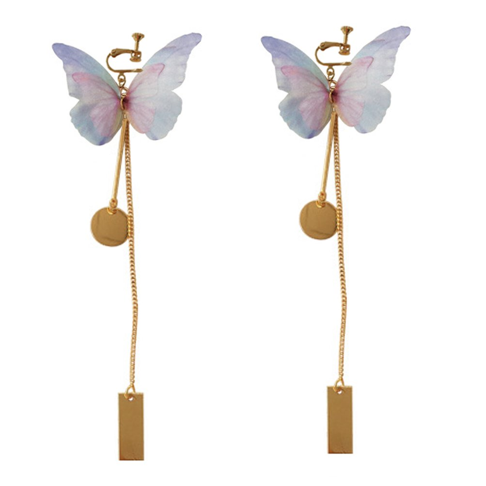 Screw Back Clip on Earring Clip for No Piercing Drop Dangle Round Butterfly Long Tassel for Girl