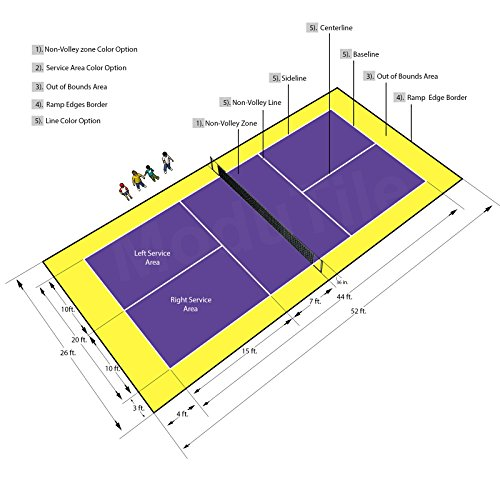 26ft x 52ft Outdoor Pickleball Court Flooring Lines and Edges Included - Purple/Yellow by BlockTile