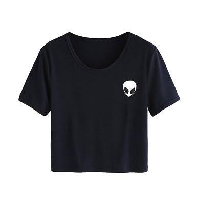 07ea27fdc0f1c ROPALIA Women Short Sleeve Tee Loose Print Blouse Casual Crop Tops   Amazon.co.uk  Clothing