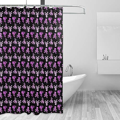 KVMV Shower Curtain Abstract Pink Skull Bones On Black Waterproof Fabric Bathroom Curtains Thinck Decor Set with Hooks - Bones Pink Skull