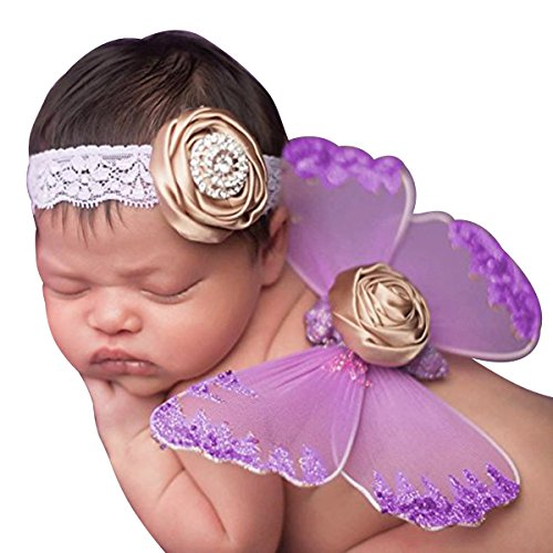 Lace Newborn Baby Butterfly Angel Wings with Hairband, Photography Props with Flower Headband Halo Set (Purple)