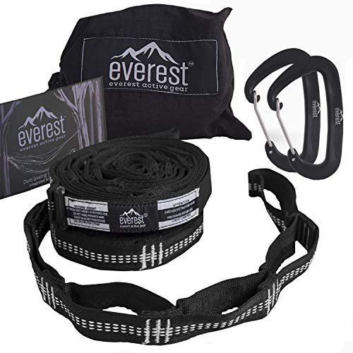 (Hammock Straps - Everest | Tree Saver Straps & Aluminum Carabiners Lightweight Triple Stitch Extra Strong No Stretch Polyester Adjustable 14 Loop Suspension System 10 ft Long - Ultra Fine Tune)