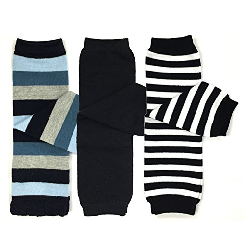 Bowbear 3 Pair Baby and Toddler Leg Warmers, Blue and Black Stripes