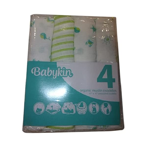 Babykin Organic Cotton Muslin Swaddle Blankets, Nautical Mix 2, 4 Piece Pack