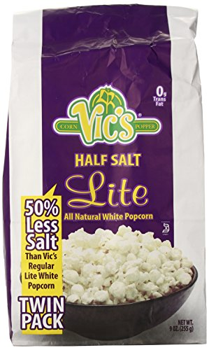 Vic's Popcorn Twin Packs Lite White Half Salt, 9 Ounce (Low Sodium Popcorn compare prices)
