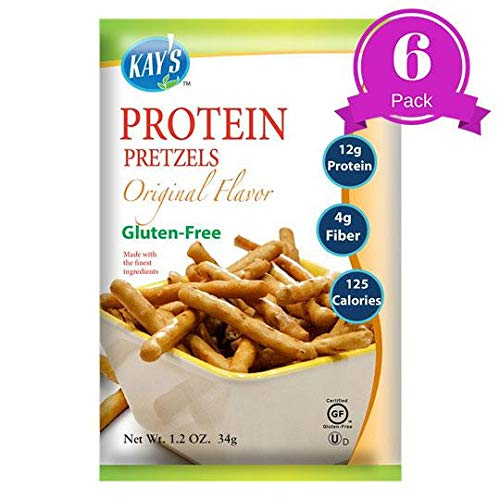 Kays Naturals Protein Pretzel Sticks, Original, Gluten-Free, Low Carbs, Low Fat, All Natural Flavorings, 1.2 Ounce (Pack of 6)
