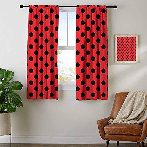 Mozenou Red and Black, Curtains Darkening Blackout, Retro Vintage Pop Art Theme Old 60s 50s Rocker Inspired Bold Polka Dots Image, Curtains Kids, W63 x L72 Inch Scarlet