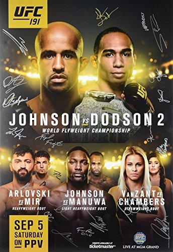 "UFC 191 Johnson vs. Dodson II Autographed 27"" x 39"" 22-Signature Event Poster - Fanatics Authentic Certified by..."