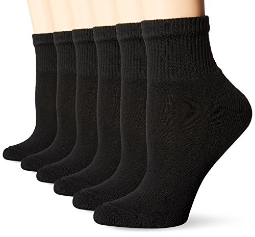 Hanes Women's Ultimate Ankle, Black, 5-9 (Pack of 6)