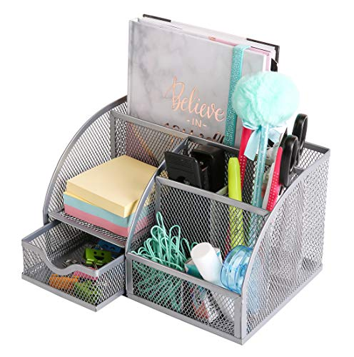 - Exerz Mesh Desk Organizer Office with 6 Compartments + Drawer/Desk Tidy Candy/Pen Holder/Multifunctional Organizer EX348 Silver