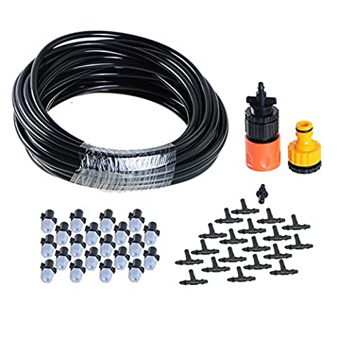 theBlueStone DIY 32FT 20 Nozzles Misting System Kit For Outdoor Patio Garden Greenhouse Reptile Mosquito Prevent - 32FT with 20PCS Plastic Mist Nozzle Misting (Mosquito Mister Parts)