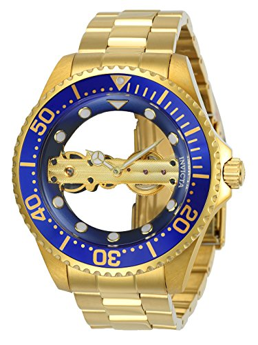 Watch Gold Transparent (Invicta 24695 Men's Pro Diver Ghost Bridge Blue & Gold Transparent Dial Yellow Gold Bracelet Watch)