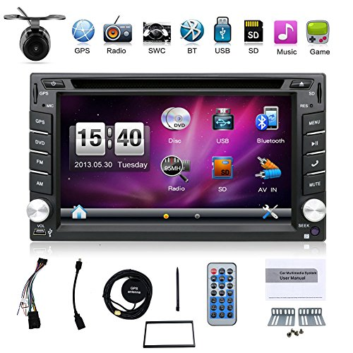 Hot selling product 6.2-inch Double DIN in Dash Car Dvd Player Car Stereo Touch Screen with Bluetooth USB Sd Mp3 Radio for Universal Car Free Backup Camera (Touch Screen Car Stereo Systems)