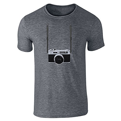 Pop Threads Retro Camera and Neck Strap Dark Heather Gray 2XL Short Sleeve T-Shirt (Kodak Color Chart compare prices)