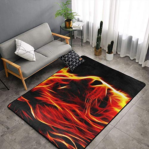 Angry Flaming Fire Lion King Black Area Rugs Memory Foam Doormat Floor Mat with Anti-Skid Rubber Backing, Fast Dry Toilet Bath Rug Standing Mat Home Decor Premium Nursery Rugs