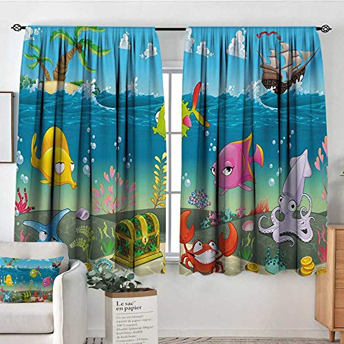 Mozenou Kids Custom Curtains Funny Sea Animals Underwater Ocean View with Sail Boat Palm Trees Cartoon Artwork Thermal Blackout Curtains 63
