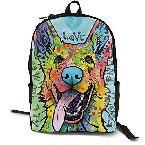 Love And A Dog German Shepherd Backpck, Big Capacity Carry On Bag Travel Hiking & Camping Rucksack, School Daypack Backpack Gym Outdoor Hiking Bag Laptop Backpack Daypack