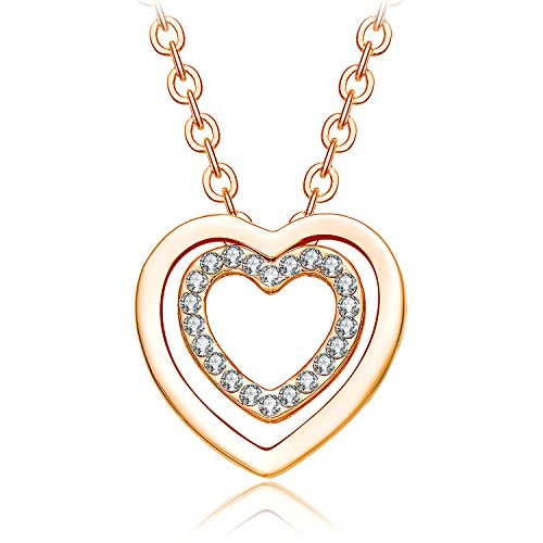 NEEMODA Yellow Gold Plated Heart Pendant Necklace with Austrian