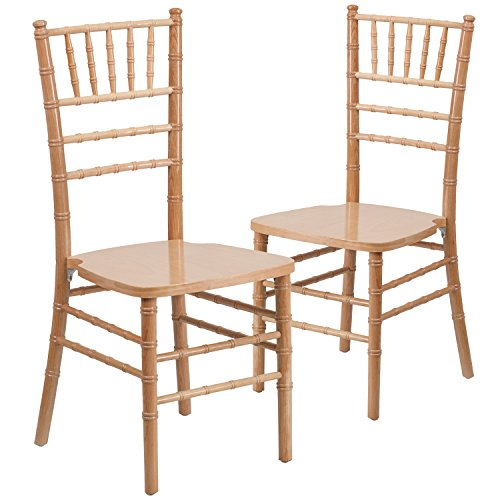 Flash Furniture 2 Pk. HERCULES Series Natural Wood Chiavari Chair Natural Wood Chair