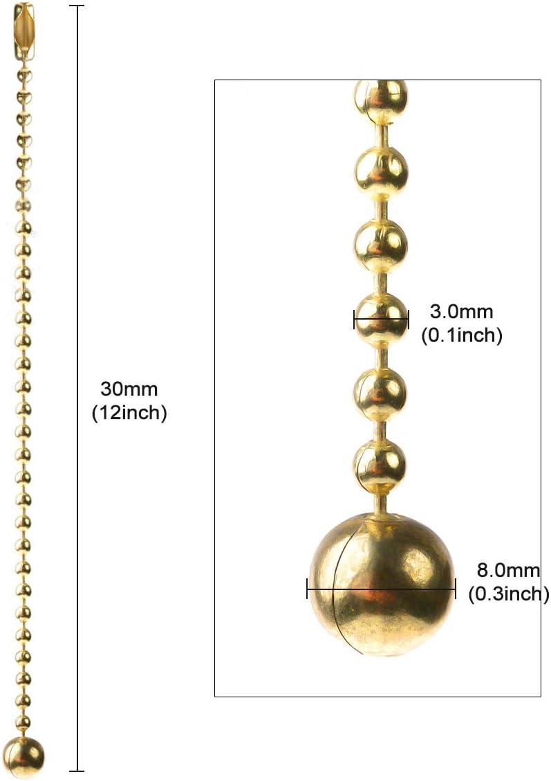 UOTYLE Perlen Zugkette Verl/ängerung 30 Zentimeter lang Perlenroller Kette mit 10 passenden Verbindern /Ø 3,0 mm bronze