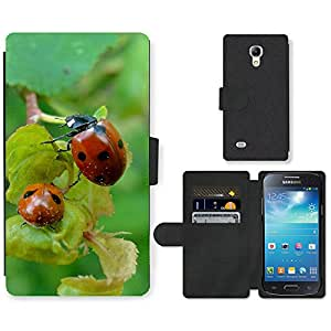 Hot Style Cell Phone Card Slot PU Leather Wallet Case // M99999187 Ladybug // Samsung Galaxy S4 Mini i9190
