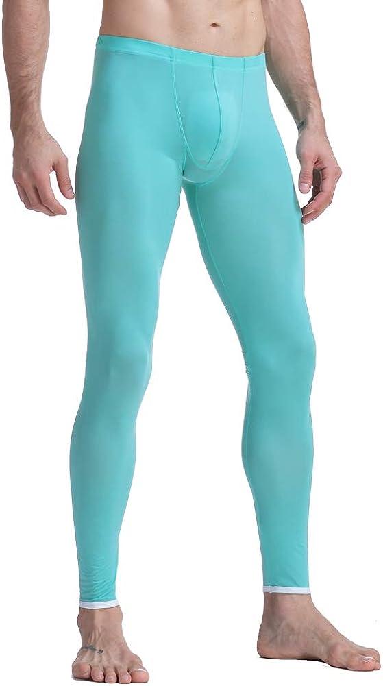 K-Men Men Ice Silk Underwear Low Rise Slim Legging Tight Pant Mesh Long Trousers
