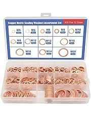 XTVTX 300 stuks Assortimentset koperen ringen 12 maten Set met koperen metrische afdichtringen Hardware sluiting Geschikt voor brandstofaccessoires(M5-M20)
