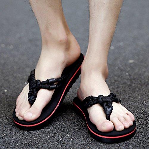 U-mac Menns Flip Flops Thongs Skli På Skli Pustende Strand Sandaler Bue Støtte Klassiske Tøfler Svart
