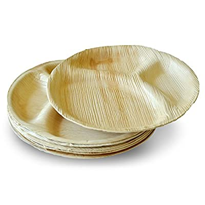 Leaftrend - Ecofriendly disposable palm leaf plates, wedding and party plates -12 inch Round 3 Partition Palm Plate -10 PCS