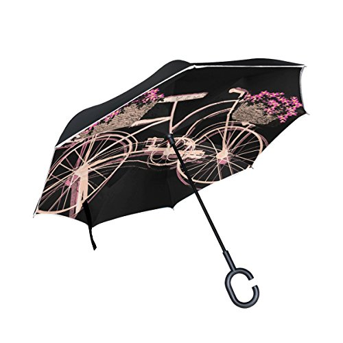 AHOMY Inverted Reverse Umbrella Bike Black Background Windproof for Car Rain Outdoor by AHOMY