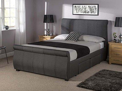 Tranquil Beds Alabama Large Sleigh Storage Bed Frame - 6ft Super King Size Dark Grey Fabric
