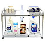 DecoBros Under Sink 2 Tier Expandable Shelf Organizer, Silver by Deco Brothers