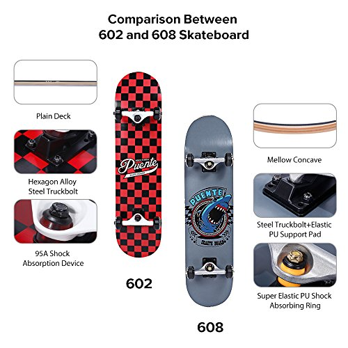 PUENTE Skateboards for Adults and Kids Beginners, ABEC-9 Bearing, 95A  Anti-Slip Smooth and Mute Wheel Skateboard - shopemalls com