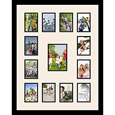Art to Frames Double-Multimat-612-824/89-FRBW26079 Collage Photo Frame Double Mat with 1 - 5x7 and 12 - 3.5x5 Openings and Satin Black Frame