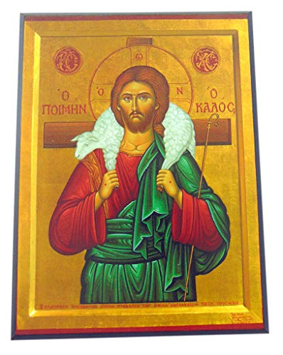 (JWG Industries Jesus Christ The Good Shepherd Orthodox Wooden Byzantine Icon Replica)