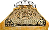 Batik-Dyed Bedsheet from Pilkhuwa with Printed Mandala of Elephants - Pure Cotton with Pillow Covers - Color Raven Black Color