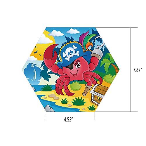 Peg Leg Fox (iPrint Hexagon Wall Sticker,Mural Decal,Pirate,Cute Cartoon Crab with Eye Patch Pirate Hat Hook Pegleg Deserted Island Coast Jungle Decorative,Multicolor,for Home Decor 4.52x7.87 10 Pcs/Set)