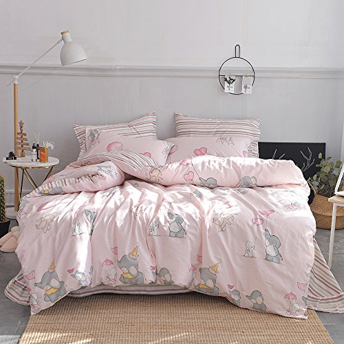 Twin Kids Pink Elephant Print Duvet Cover Set 100% Cotton Rabbit Stripe Pattern Children Duvet Cover with Zipper Closure 3 Piece Boys Girls Bedding Sets Collection Twin Reversible for Teens Kids Pink Duvet Collection