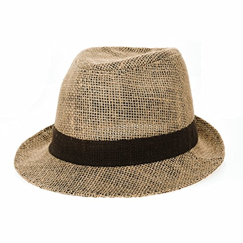WITHMOONS Linen Fedora Hat Paper Straw Banded Summer Cool DW6711 (Banded Straw Fedora Hat)