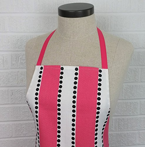 Ruffled Pink Stripe & Black Dots Apron with Pocket - Made USA
