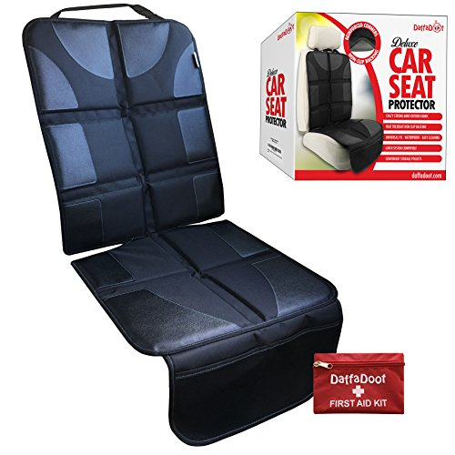 (NEW 2018) Deluxe Auto Seat Protector Fits Under Baby Car Seat or Booster- Universal Fit - Complete Heavy Duty Coverage - Waterproof Anti-Slip Color-Fast Heat Resistant - Safely & Effectively Protects Deluxe Booster