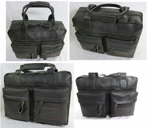 exclusive Leder Fahrradtasche New Looxs APACHE schwarz Büro-und Schultertasche